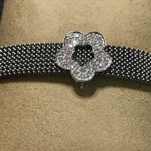 Jewelry - NWOT 14kt Wht Gold/Dia Flower Charm Bracelet